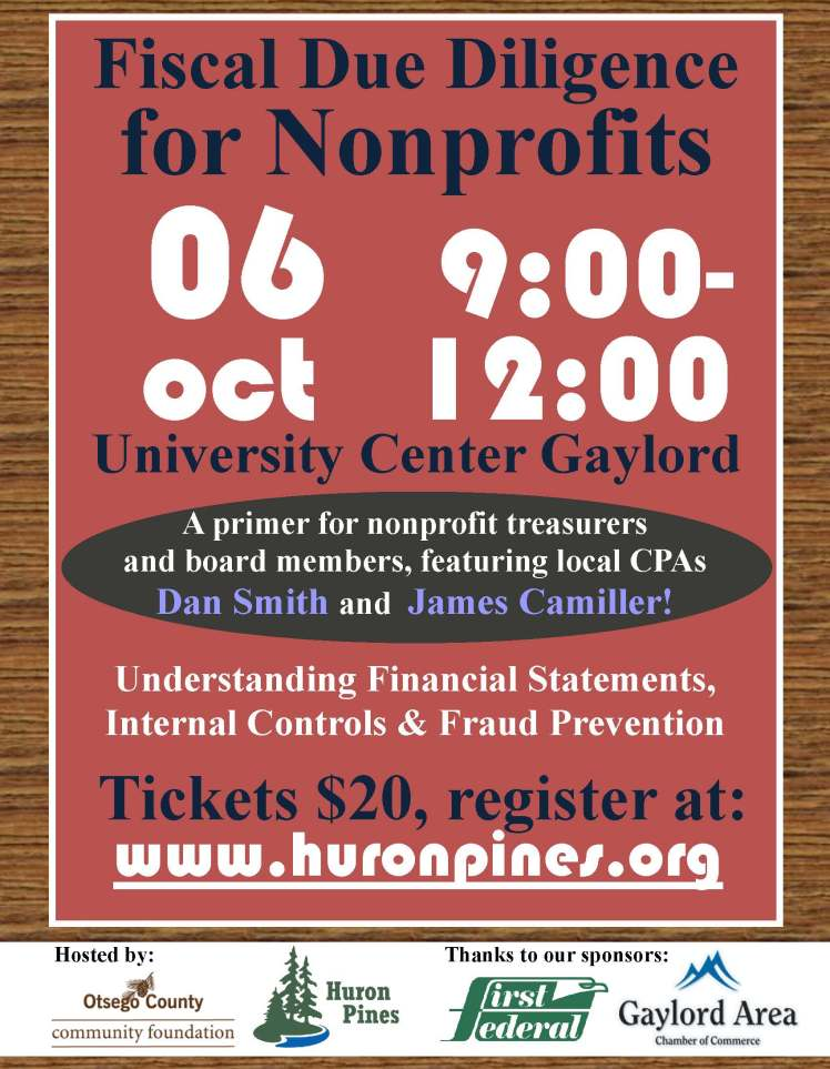 Oct 6 Fiscal Due Diligence for Nonprofits Workshop