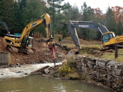 Demolition of the dam will be followed by construction of a timber bridge