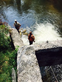 The Buhl Dam scour pool is approximately 8-10 feet deep